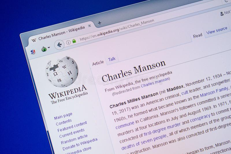 Riazan, Russie - 9 juillet 2018 : Page sur Wikipedia au sujet de Charles Manson sur l'affichage du PC photo stock