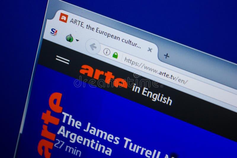 Riazan, Russie - 26 juin 2018 : Page d'accueil de site Web d'Arte sur l'affichage du PC URL - Arte TV photographie stock