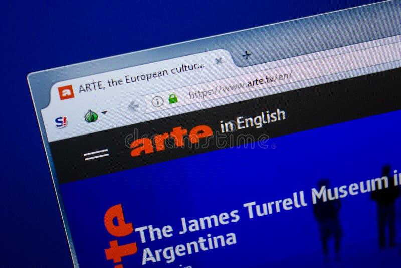 Riazan, Russie - 26 juin 2018 : Page d'accueil de site Web d'Arte sur l'affichage du PC URL - Arte TV images stock