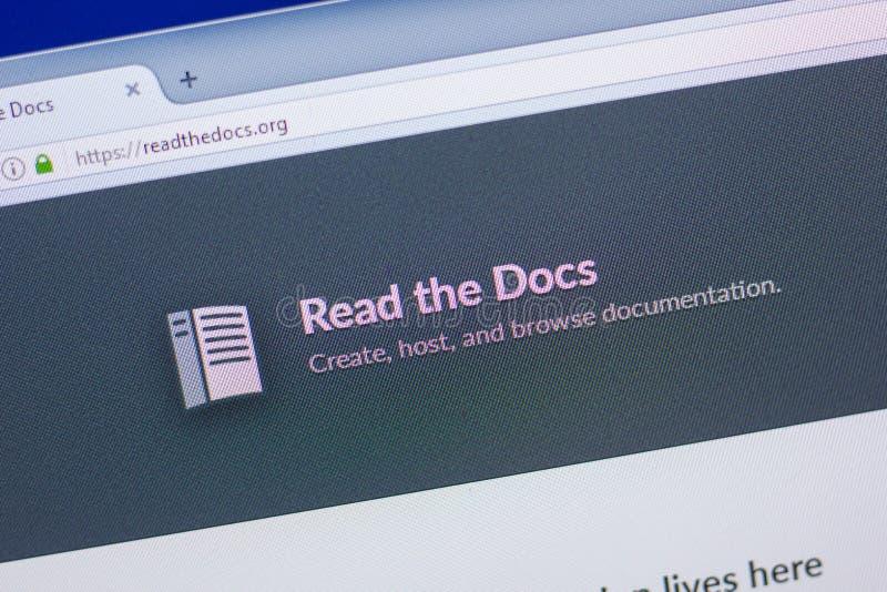 Riazan, Russie - 13 mai 2018 : Lisez le site Web de Doc.s sur l'affichage du PC, URL - Readthedocs org images stock