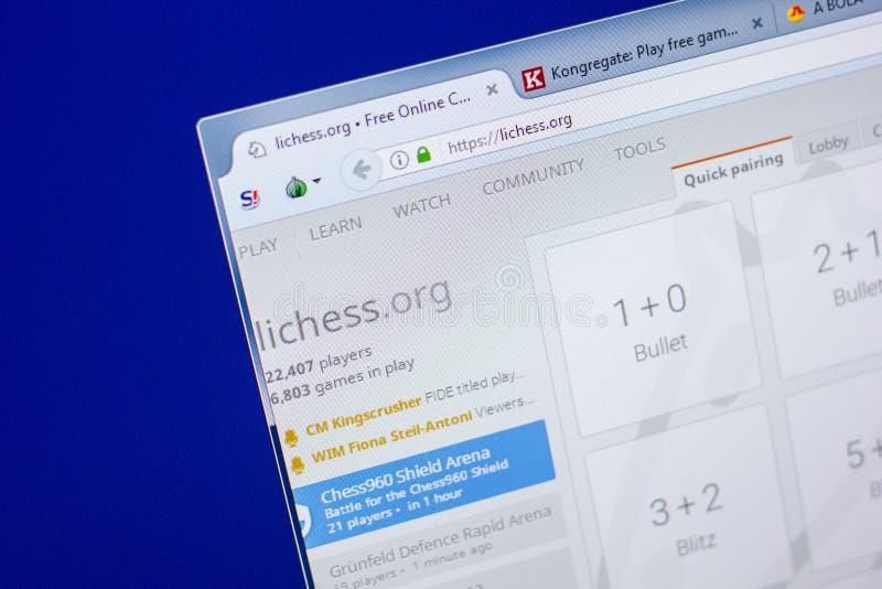 Riazan, Russie - 20 mai 2018 : Page d'accueil de site Web de LiChess sur l'affichage du PC, URL - LiChess org photographie stock libre de droits