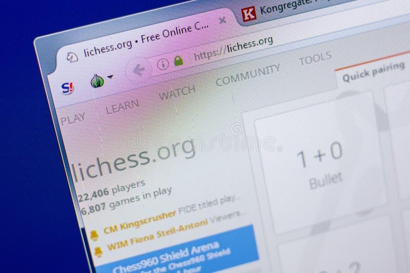 Riazan, Russie - 20 mai 2018 : Page d'accueil de site Web de LiChess sur l'affichage du PC, URL - LiChess org images libres de droits