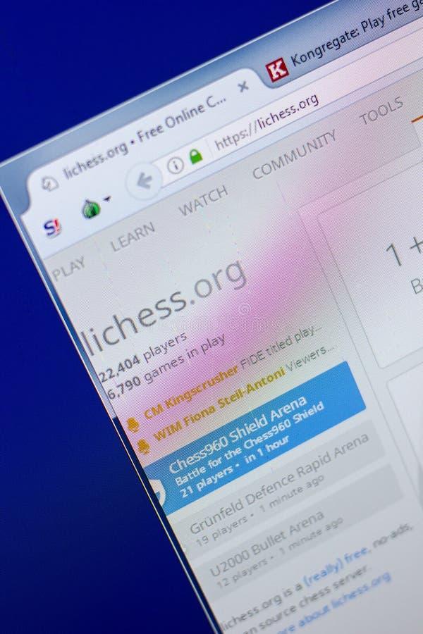Riazan, Russie - 20 mai 2018 : Page d'accueil de site Web de LiChess sur l'affichage du PC, URL - LiChess org image libre de droits