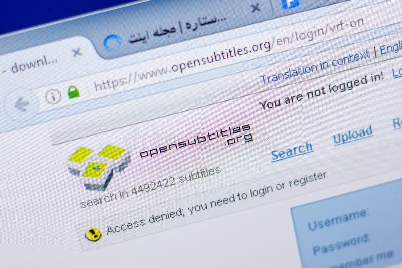 Riazan, Russie - 20 mai 2018 : Page d'accueil de site Web d'OpenSubTitles sur l'affichage du PC, URL - OpenSubTitles org images stock