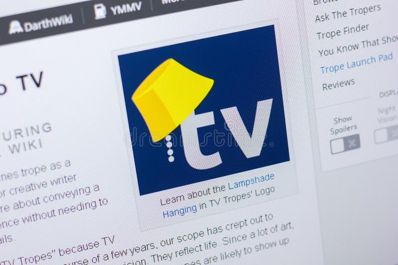 Riazan, Russie - 20 mai 2018 : Page d'accueil de site Web de TVTropes sur l'affichage du PC, URL - TVTropes org image stock
