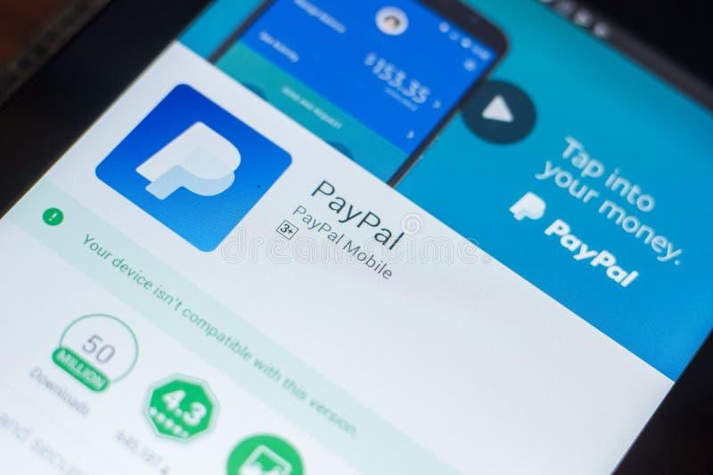 Riazan, Russie - 16 mai 2018 : Paypal APP mobile sur l'affichage de la tablette image stock