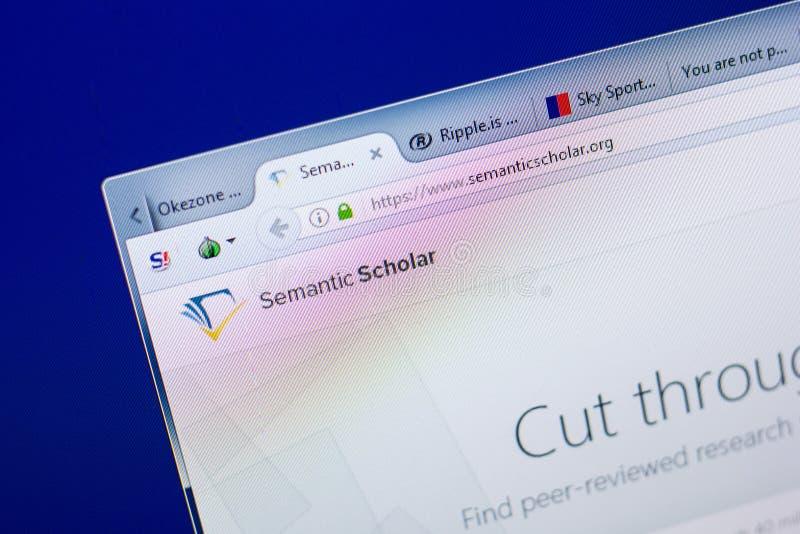 Riazan, Russie - 8 mai 2018 : Site Web sémantique de chercheur sur l'affichage du PC, URL - Semanticscholar org image stock
