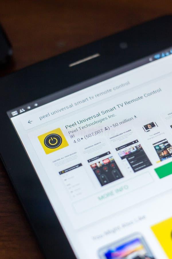 Riazan, Russie - 21 mars 2018 - épluchez l'icône à télécommande universelle de Smart TV photos stock