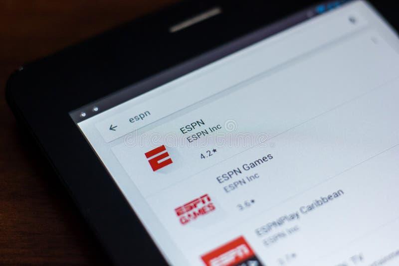 Riazan, Russie - 21 mars 2018 - icône d'ESPN dans la liste d'apps mobiles photographie stock libre de droits