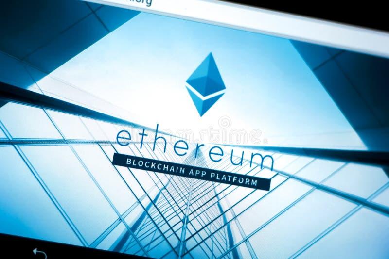 Riazan, Russie - 29 mars 2018 - page d'accueil de cryptocurrency d'Ethereum sur un affichage de tablette photos libres de droits
