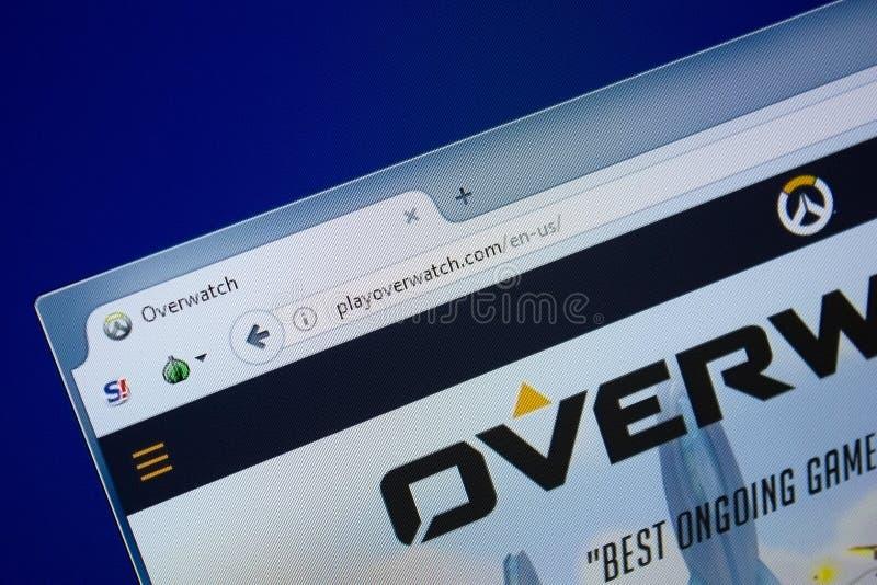 Riazan, Russie - 9 septembre 2018 : Page d'accueil de jeu au-dessus de site Web de montre sur l'affichage du PC, URL - PlayOverWa photographie stock