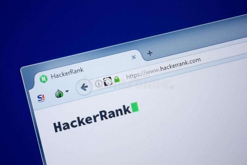 Riazan, Russie - 9 septembre 2018 : Page d'accueil de site Web de rang de pirate informatique sur l'affichage du PC, URL - Hacker photo stock