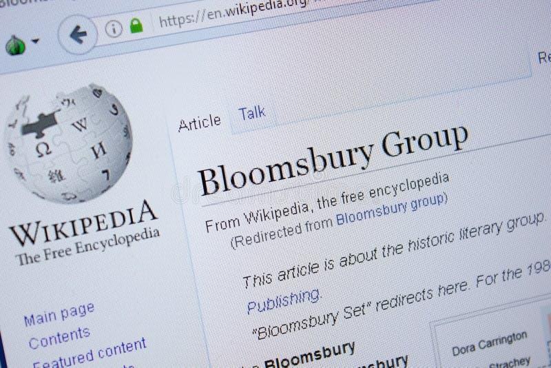 Riazan, Russie - 9 septembre 2018 - page de Wikipedia au sujet de Bloomsbury Group sur un affichage de PC images stock