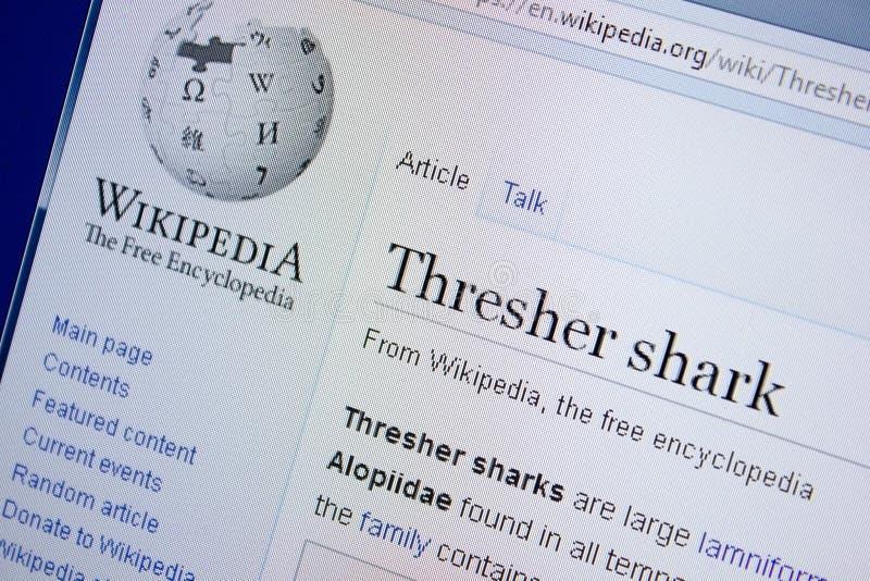 Riazan, Russie - 9 septembre 2018 - page de Wikipedia au sujet de requin de batteuse sur un affichage de PC photographie stock