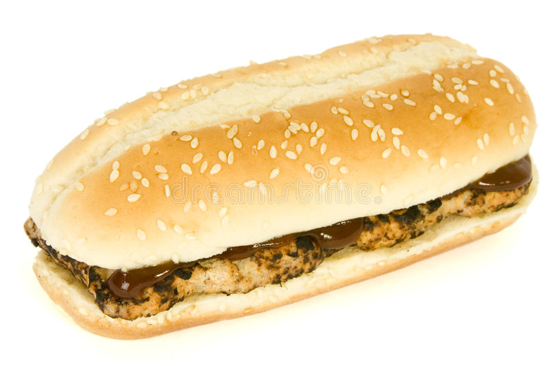 Rib BBQ sandwich - Fast Food royalty free stock image