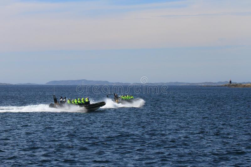 Rib boat`s hazardous competition. Rib safari to watch sea eagles, whales and the famous trollfjord Lofoten Islands, Arctic Norway royalty free stock photos