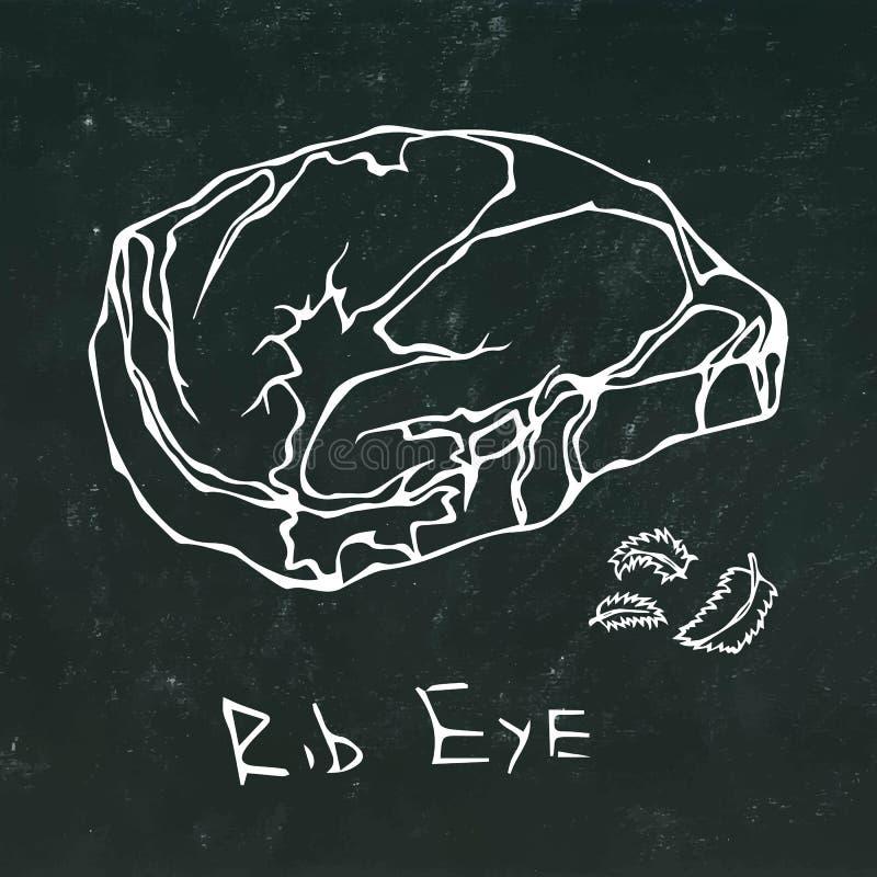 Rib Eye Steak Cut Vector lokalisierte auf Tafel-Hintergrund-Entwurf lizenzfreie abbildung