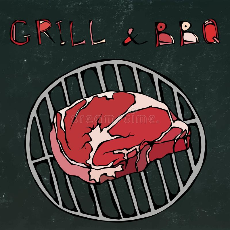 Rib Eye Steak on the Grill for Barbecue. Lettering Grill and BBQ. Realistic Doodle Cartoon Style Hand Drawn Sketch. Rib Eye Steak on the Grill for Barbecue vector illustration