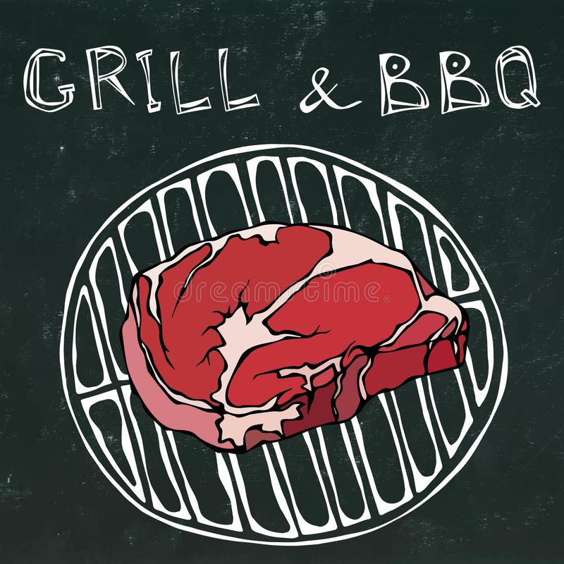 Rib Eye Steak on the Grill for Barbecue. Lettering Grill and BBQ. Realistic Doodle Cartoon Style Hand Drawn Sketch. Rib Eye Steak on the Grill for Barbecue stock illustration