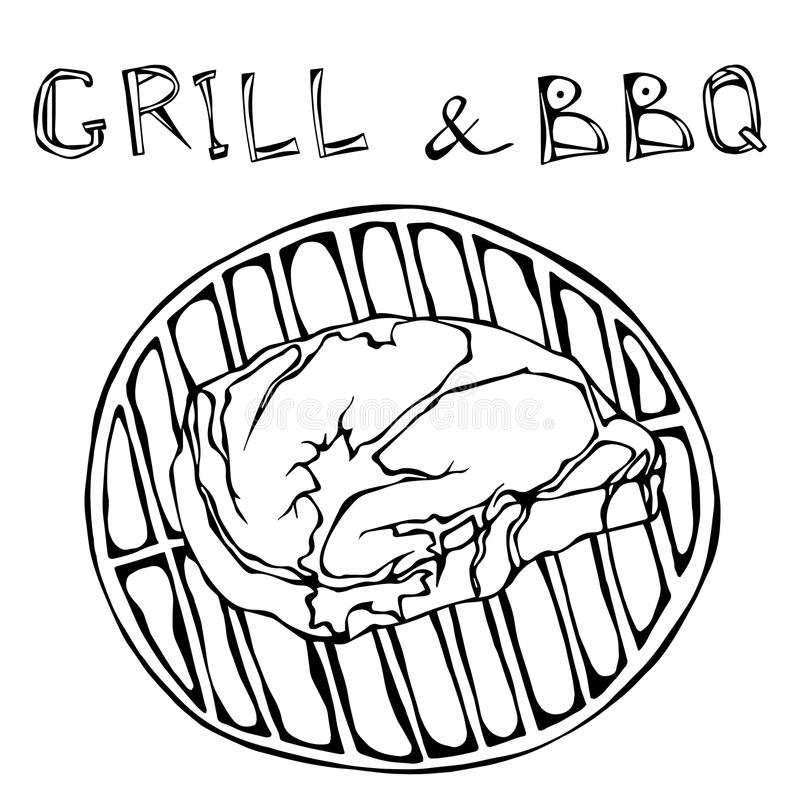 Rib Eye Steak on the Grill for Barbecue. Lettering Grill and BBQ. Realistic Doodle Cartoon Style Hand Drawn Sketch Vector Illustra. Rib Eye Steak on the Grill royalty free illustration
