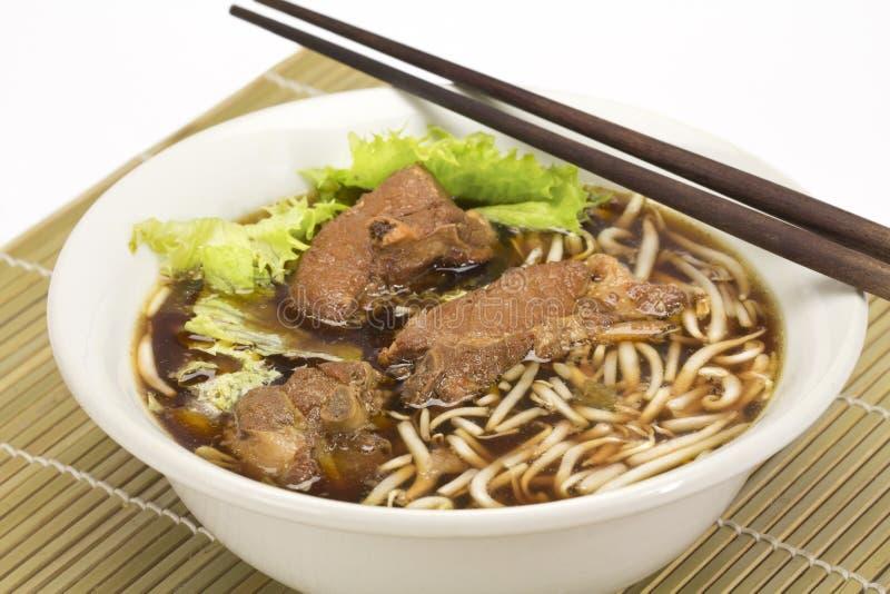 Rib pork noodle soup stock photo