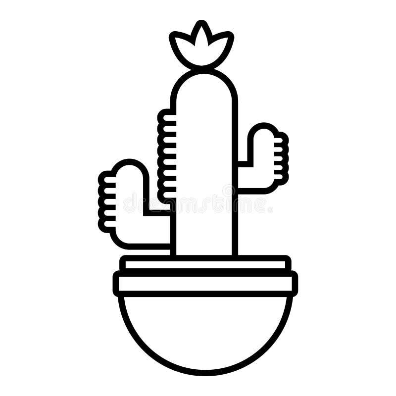 Ribbad kaktussymbol, översiktslinje stil royaltyfri illustrationer