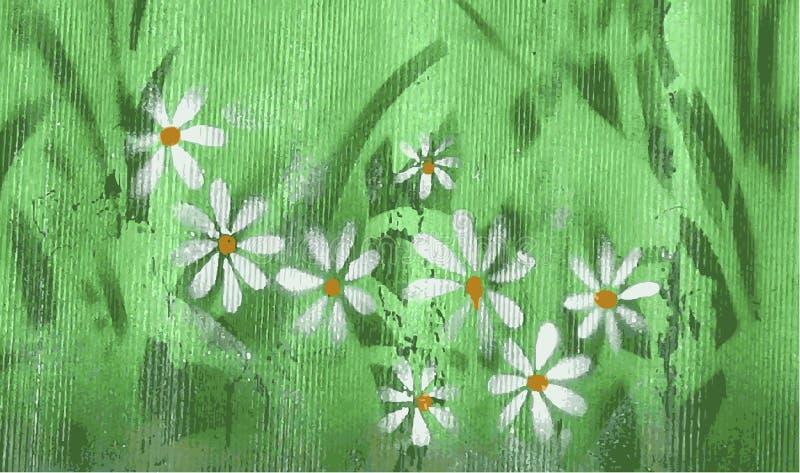 Ribbad randig yttersida med abstrakta kamomillblommor Kamomillblommor, texturerad bakgrund vektor royaltyfri illustrationer
