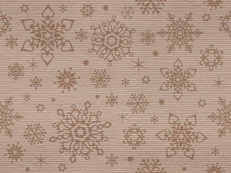 Ribbade kraft texturerade den sömlösa modellen med julsnöflingor vektor illustrationer