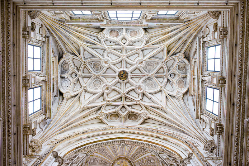 Ribbed Vault Ceiling of the Mezquita Cathedral stock photos