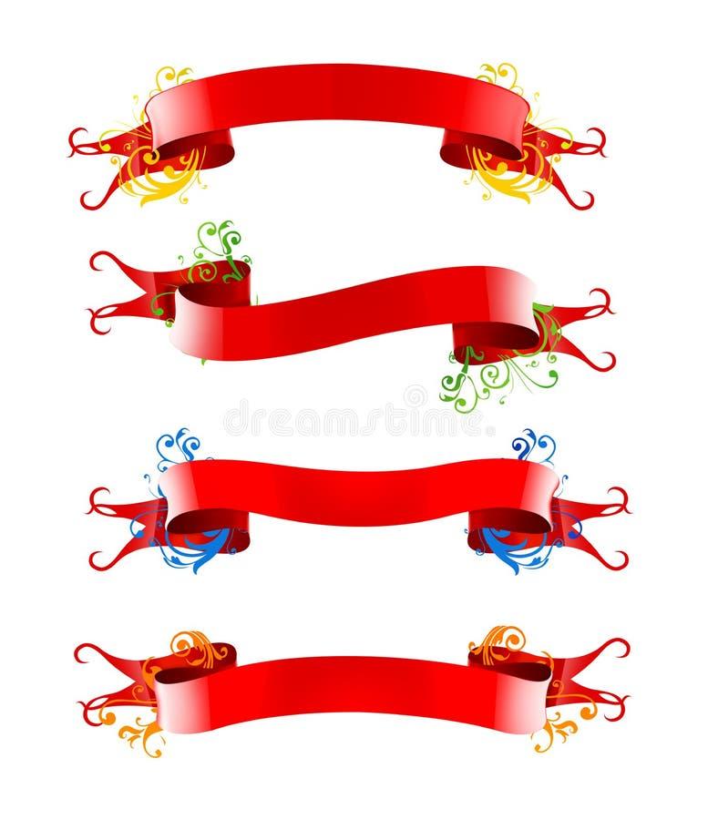 Ribbions, regalo, arco rosso illustrazione vettoriale
