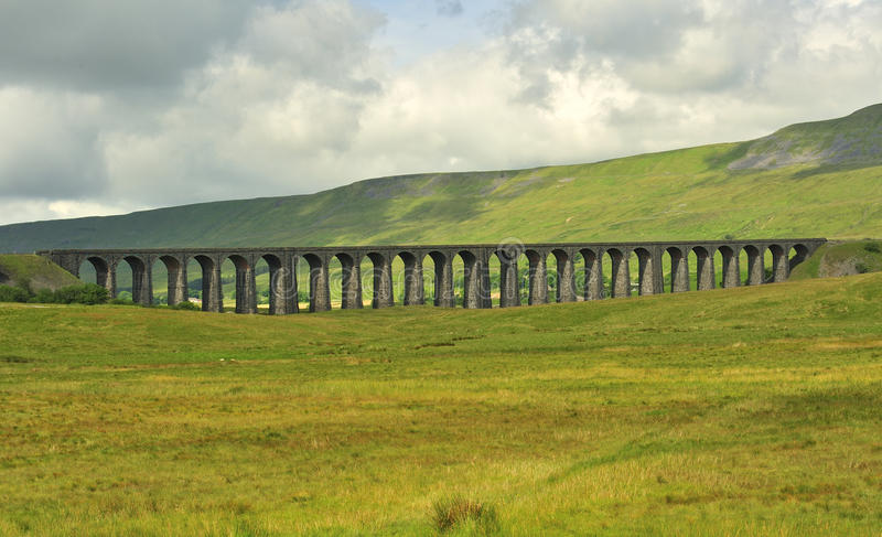 Ribblehead Viaduct, looking south, North Yorkshire. The famous Ribblehead viaduct, in the North Yorkshire hills and moorlands. Completed in 1875, in Victorian royalty free stock photos