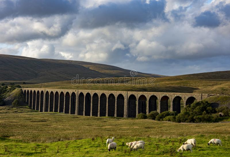 Ribblehead Viaduct in the Yorkshie Dales, UK. The Ribblehead Viaduct in the Yorkshire Dales in the UK. Also known as Batty Moss Viaduct is in the Ribble Valley royalty free stock photography