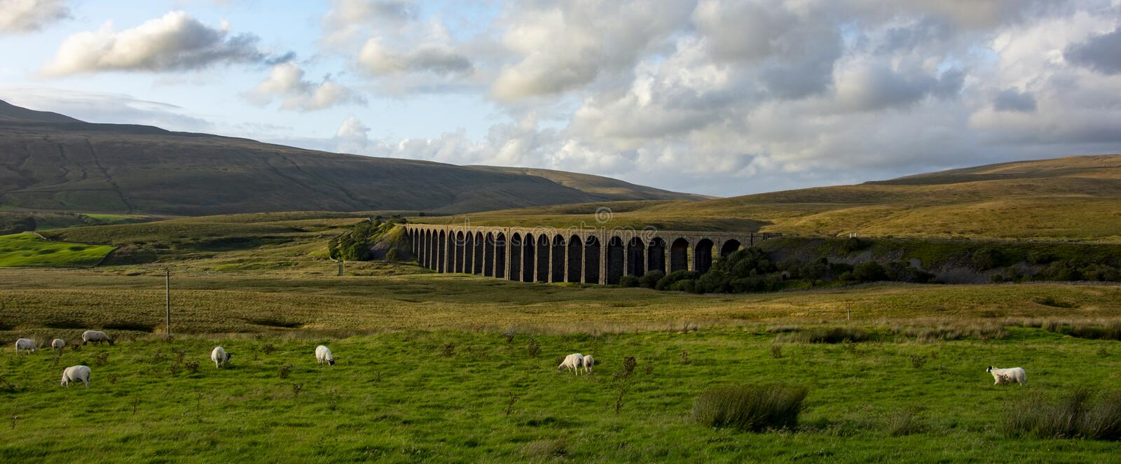 Ribblehead Viaduct in the Yorkshie Dales, UK. The Ribblehead Viaduct in the Yorkshire Dales in the UK. Also known as Batty Moss Viaduct is in the Ribble Valley royalty free stock photos