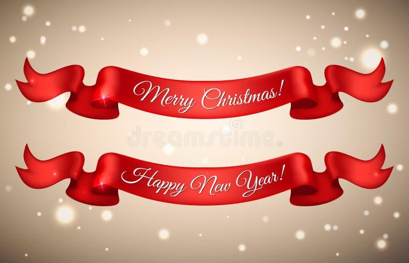Ribbo vermelho do cetim do ano novo feliz e do Feliz Natal do feriado brilhante ilustração do vetor