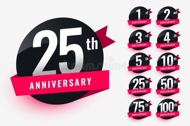 Ribbon anniversary labels set design stock illustration