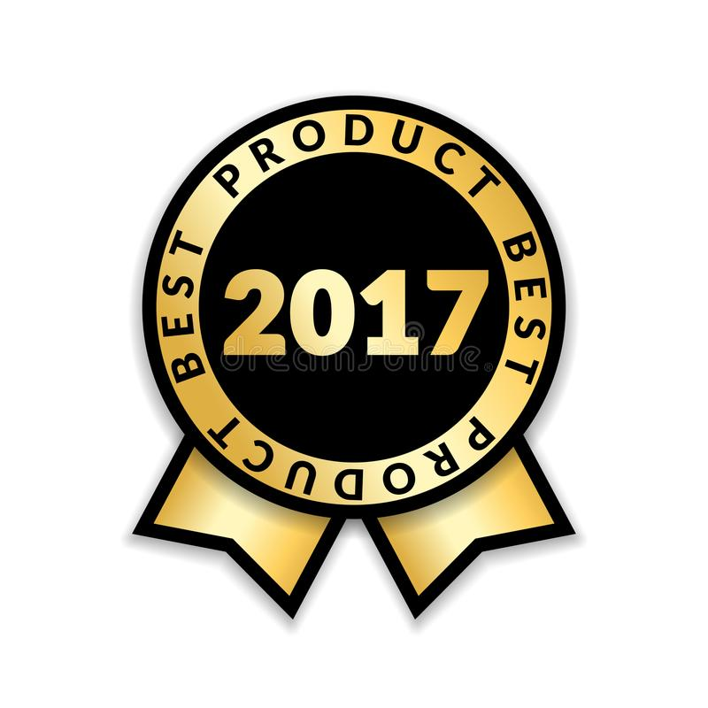 Ribbon award best product of year 2017. Gold ribbon award icon isolated white background. Best product golden label for stock illustration