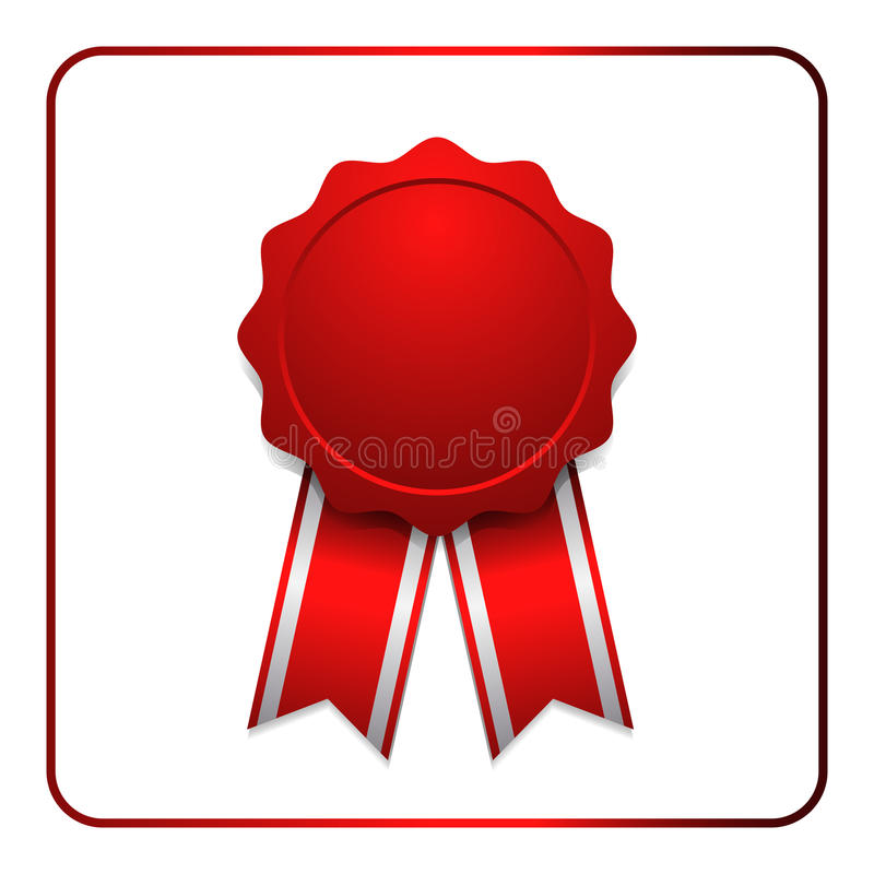 Ribbon award icon red 1. Ribbon award icon. Red badge, isolated on white background. Medal design element. Label emblem. Blank certificate, winner or prize vector illustration