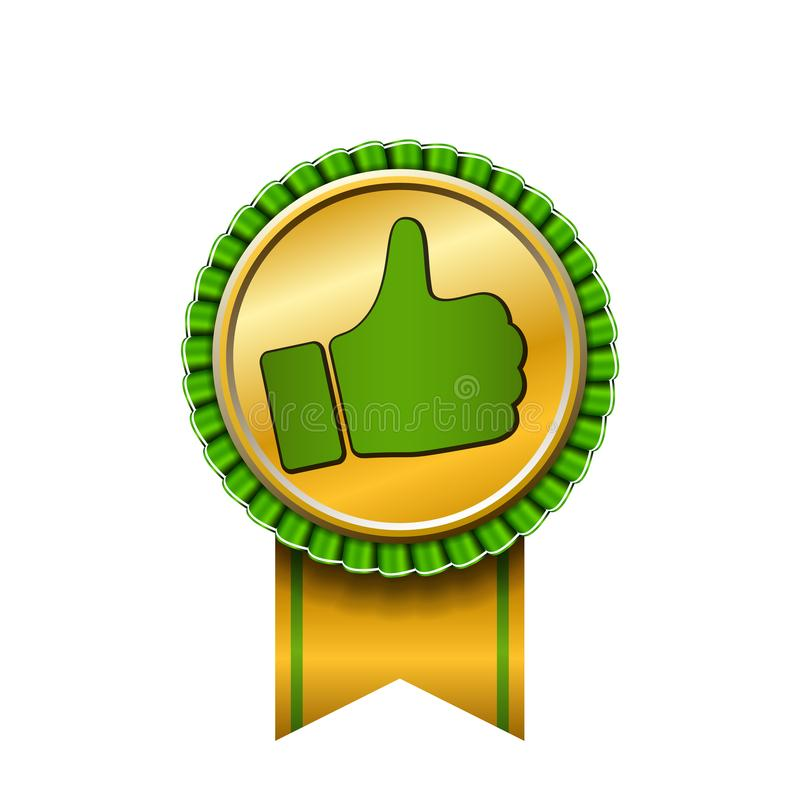 Ribbon award up thumb gold icon. Gesture success hand golden medal. Best choice, best seller, label control quality royalty free illustration