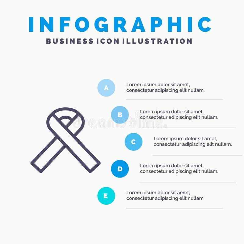 Ribbon, Awareness, Cancer Blue Infographics Template 5 Steps. Vector Line Icon template vector illustration