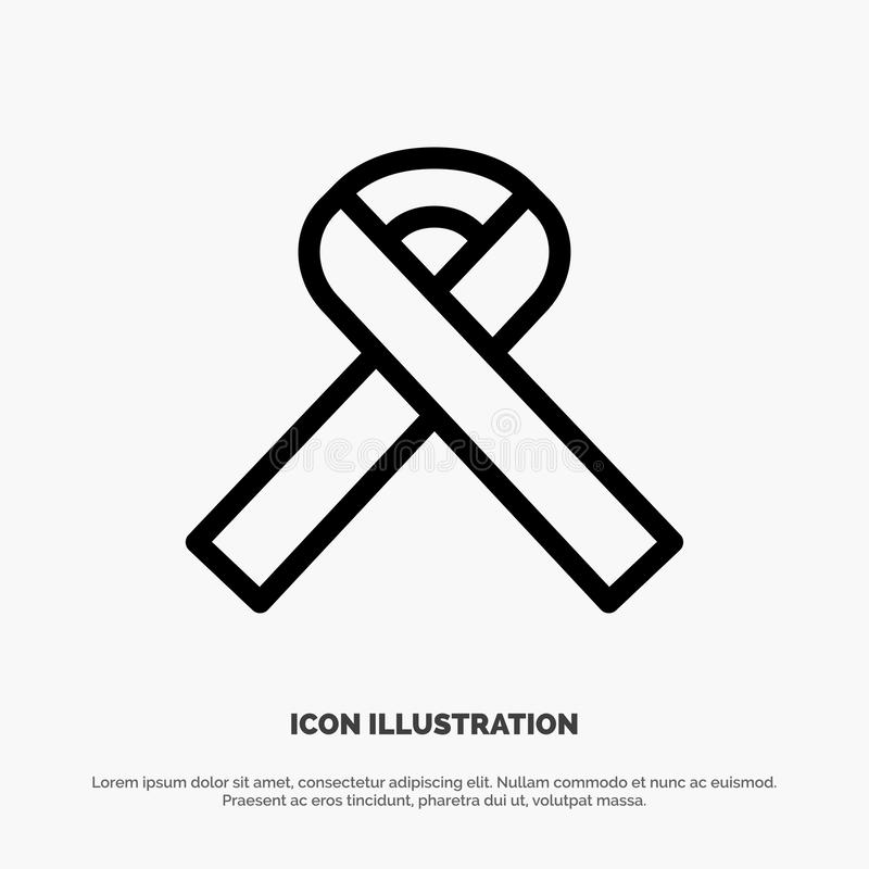 Ribbon, Awareness, Cancer Vector Line Icon stock illustration
