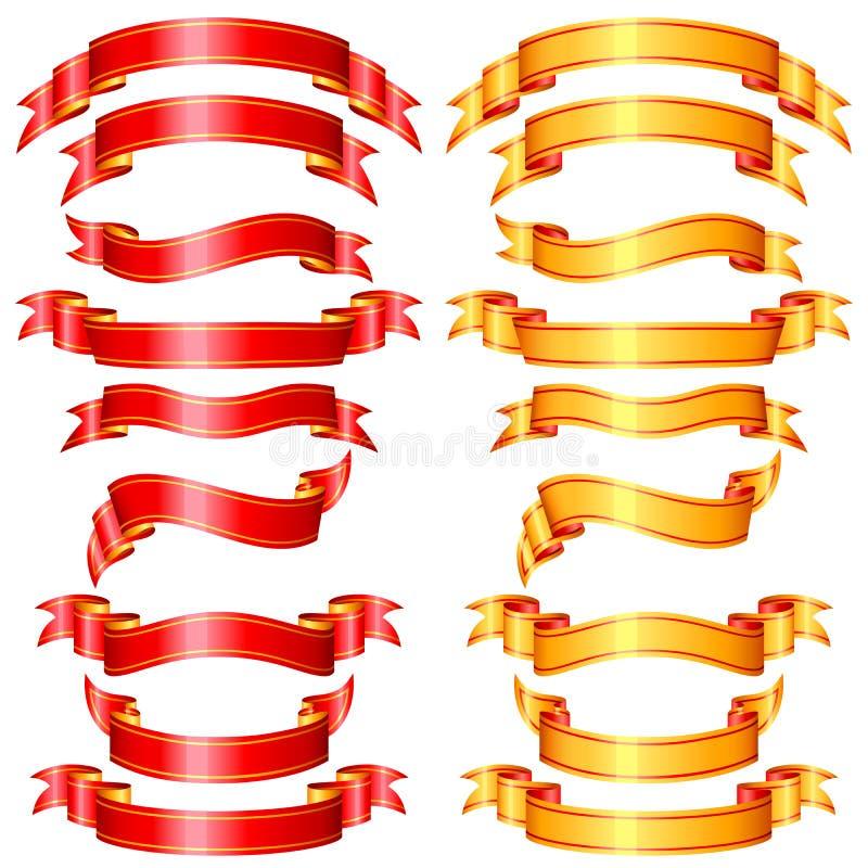 Ribbon Banner. Vector illustration of set of ribbon banner in red and golden color stock illustration