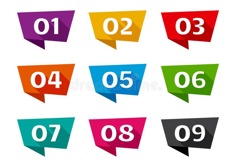Ribbon banner font numbers from 01 to 09. Vector illustration vector illustration