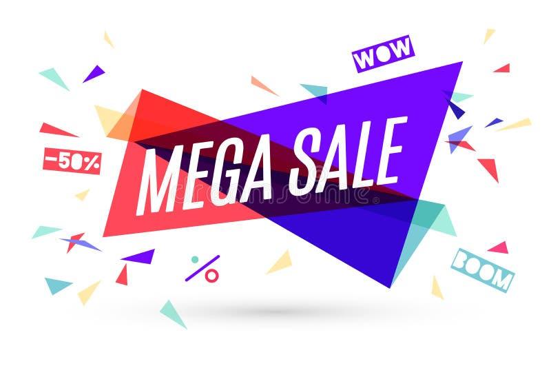 Ribbon banner with text Mega Sale vector illustration