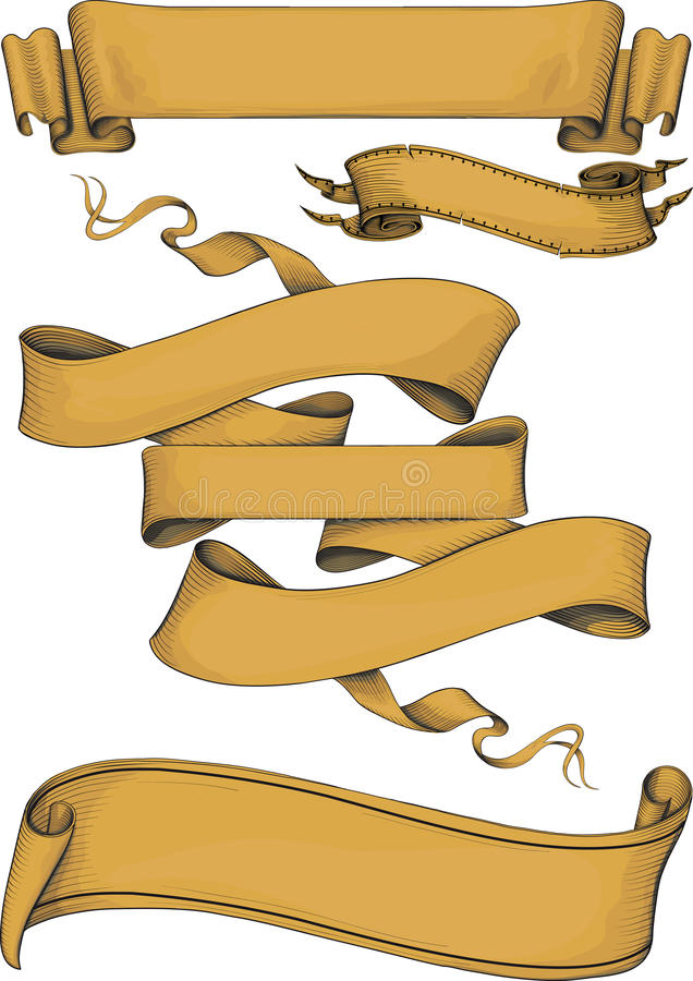 Ribbon banners engravin style vector illustration