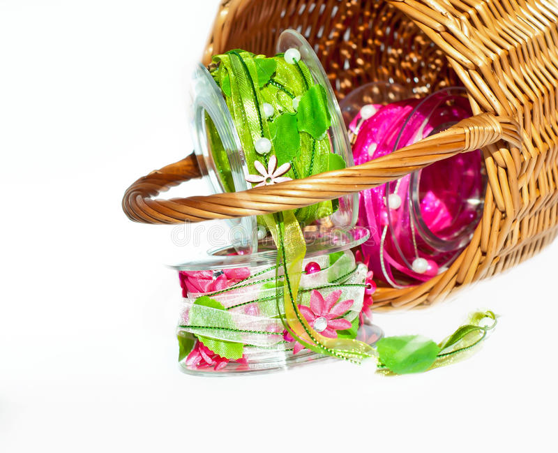 Ribbon in a basket royalty free stock image
