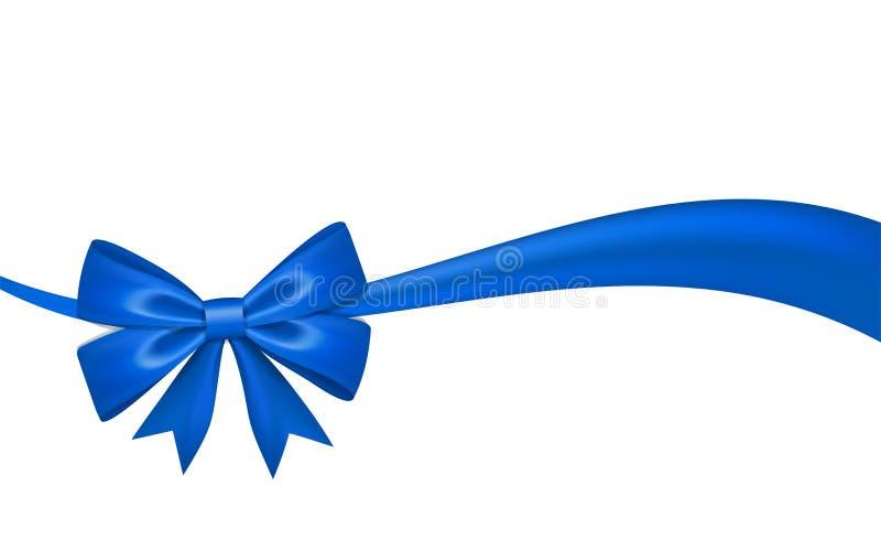 Ribbon bow for gift, isolated white background. Satin design festive frame. Decorative Christmas, Valentine day card. Present holiday decoration. Birthday royalty free illustration