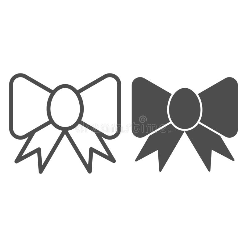 Ribbon bow line and glyph icon. Festive decoration vector illustration isolated on white. Silk bow outline style design. Designed for web and app. Eps 10 stock illustration