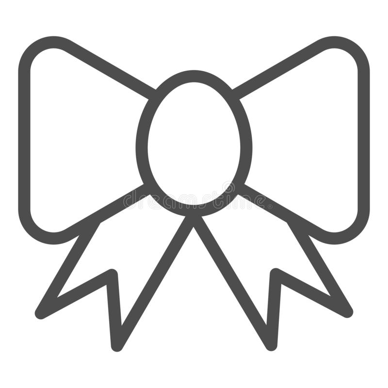 Ribbon bow line icon. Festive decoration vector illustration isolated on white. Silk bow outline style design, designed. For web and app. Eps 10 stock illustration
