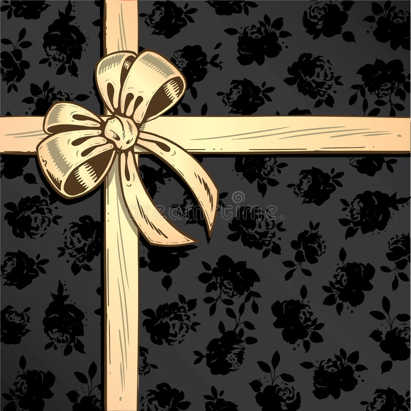 Ribbon and bow with rose background vector illustr vector illustration