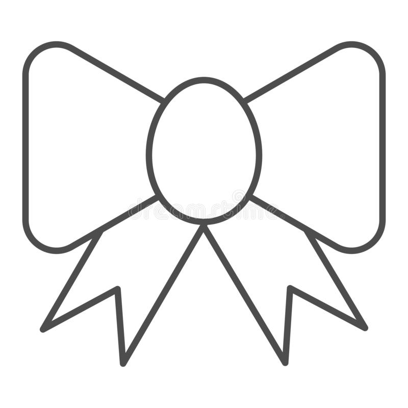Ribbon bow thin line icon. Festive decoration vector illustration isolated on white. Silk bow outline style design. Designed for web and app. Eps 10 royalty free illustration